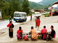 Mini-buses are ideal for small groups of travelers. Here we see one on the roadside in the ancient city  of Songpan in Sichuan.