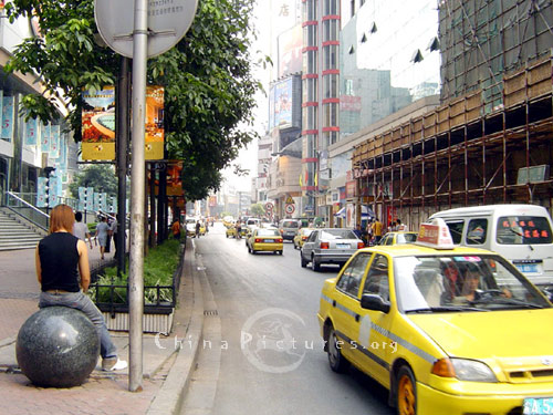 The distinctive yellow taxis provide easy access around the city of Chongqing.