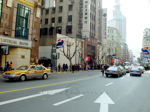 Smart taxis are a prominent feature of the busy streets of Shanghai.