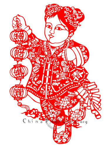 During Chinese traditional Spring Festival, it is very significant to paste some paper-cuts on entrance gates.