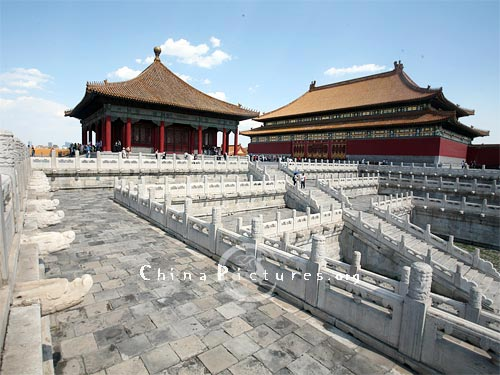 Hall of Supreme Harmony sits on a three-tier marble terrace. It is the highest structure in the Forbidden City.