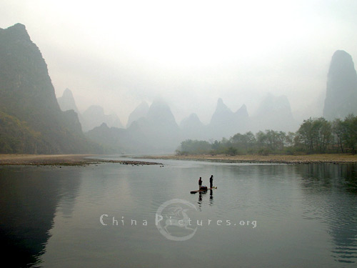 Mist wreathed over the landscape, Li River, Guilin