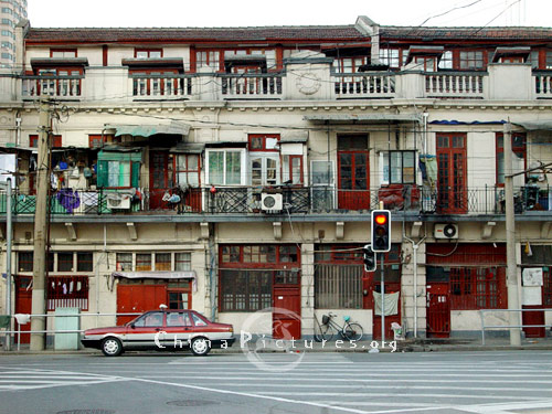 A line of Residential houses along the street in Shanghai