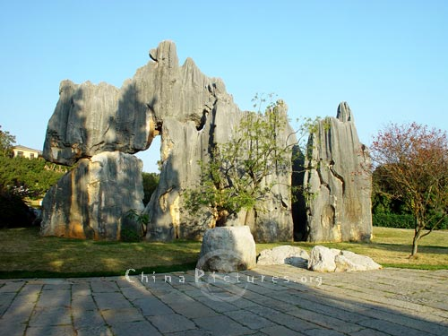 Many of the stone pinnacles are associated with legends, Yunnan Stone Forest.