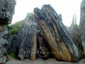 Tourists are lost in the wonder of the quintessential karst limestone pillars in Yunnan Stone Forest.