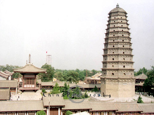 "The Real Spirit Pagoda enjoyed the reputation of being the ""forefather of pagodas and temples in Central Shaanxi,"" because it held the finger bones of Sakyamuni - the founder of Buddhism."