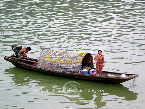 Simple boat is fixed with motor.
